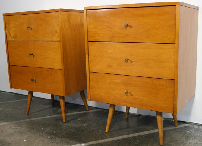 Pair of Paul Mccobb Planner Group vintage mid century modern 3 drawer nightstands small dresser Tobacco maple finish by symmetrymodern