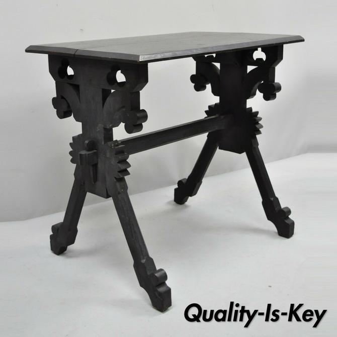 Antique Eastlake Victorian Ebonized Walnut Trestle Base Accent Side Table