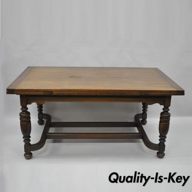 Antique Oak Wood Jacobean Style Extension Leaf Refectory Dining Room Table