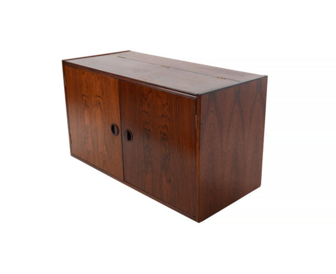 Danish Modern Rosewood Wall Unit Floating Cabinet By Hg