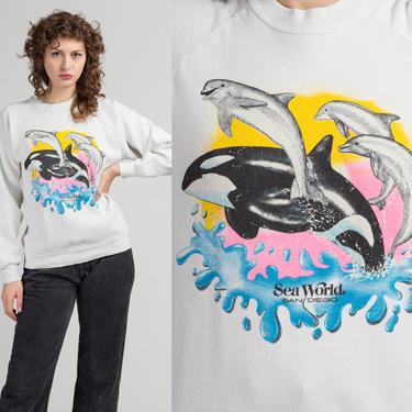 90s Dolphin Orca Whale Sweatshirt - Large   Vintage Unisex White SeaWorld San Diego Ocean Animal T Shirt by FlyingAppleVintage