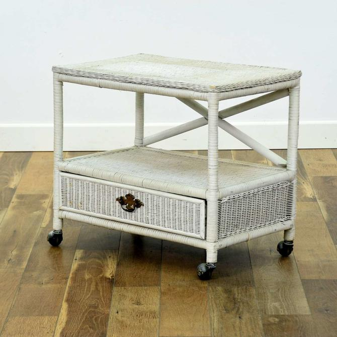 White Wicker End Table W Casters