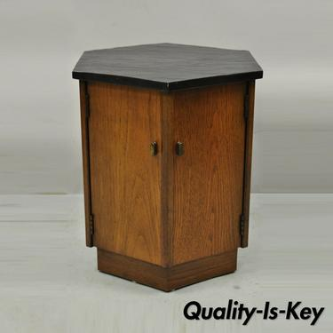 Mid Century Modern Walnut Hexagonal Slate Top Side Cabinet Drum Table