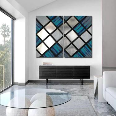 Abstract Painting, Wood Wall Art, Metal Art, Modern Art, Wall Sculpture, Geometric Wall Art, Mid Century Modern, Contemporary Art by LauraAshleyWoodArt