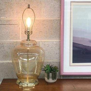 Vintage Table Lamp Retro 1980s Contemporary + Iridescent Peach + Marigold + Clear Glass + Large Size + Mood Lighting + Home and table Decor by RetrospectVintage215