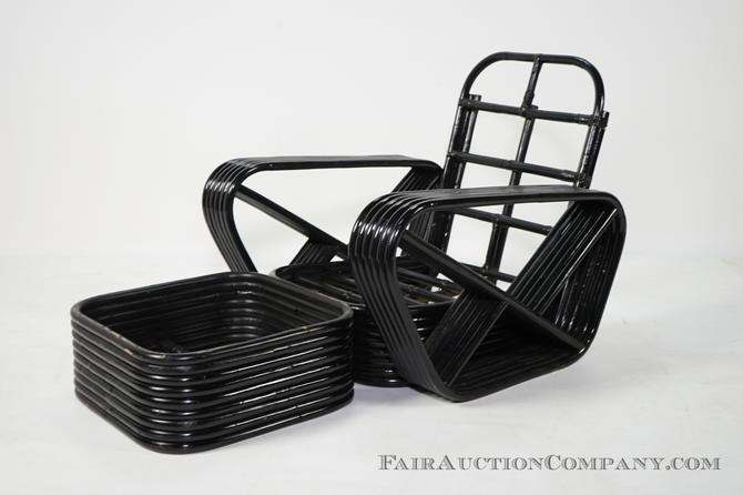 Paul Frankl 6 strand bamboo chair & ottoman