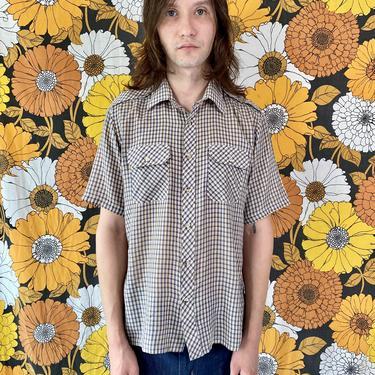 Brown and Blue Plaid Shirt