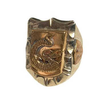 Vintage 1940s MEXICAN BIKER RING ~ size 8 3/4 ~ Dragon / Serpent ~ Mexico Souvenir ~ Rockabilly by SparrowsAndWolves
