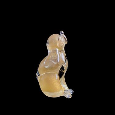 Vintage 1970s Murano Art Glass Dog Hound Figurine Sculpture Figure Clear with Gilt Gold Center Clear & Gold Italy Italian Whimsical Design by SwankyChaperooo