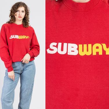80s Subway Sweatshirt - Men's Medium   Vintage Red Slouchy Graphic Pullover by FlyingAppleVintage