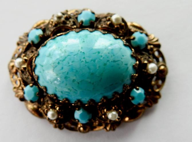 Mid Century Turquoise Peking Glass Victorian Revival Brooch by LegendaryBeast