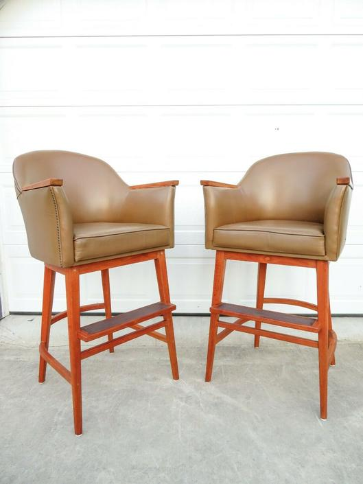 VTG Mid Century TALL TEAK & LEATHER CHAIRS FROM HELM OF YACHT Ship BAR STOOLS