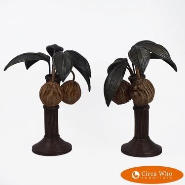 Pair of Pencil Reed Palm Tree Table Lamps