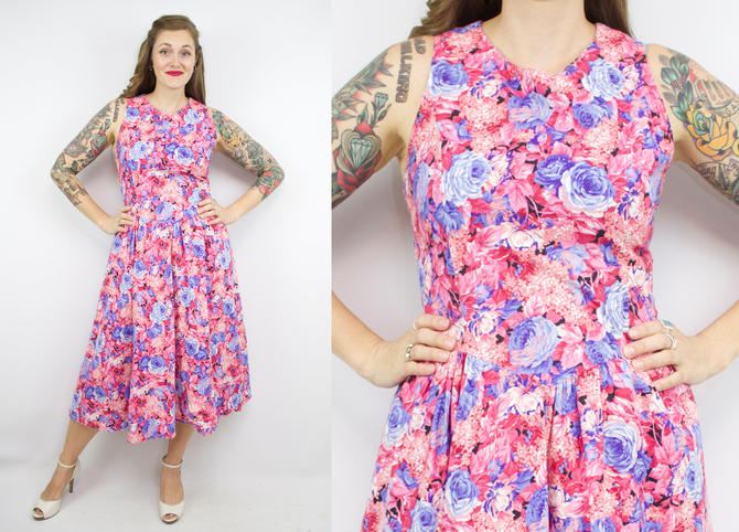 567eb89e6ee Vintage 50  39 s Inspired Pink and Purple Floral Rose Print Dress ...