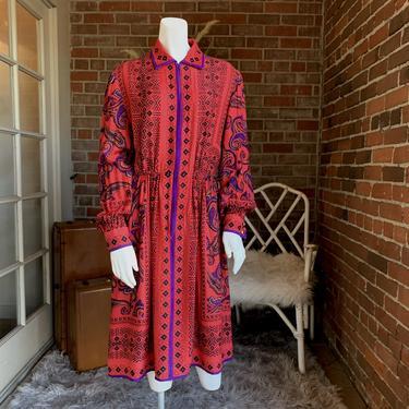 Abstract Paisley Southwestern Print Silk Dress Adele Simpson