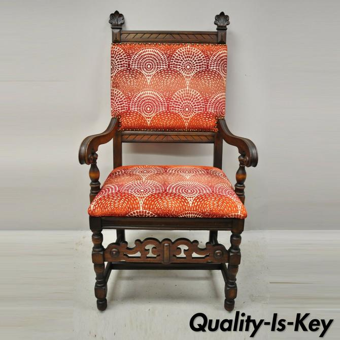 Antique Italian Renaissance Revival Carved Walnut Throne Captains Red Arm Chair