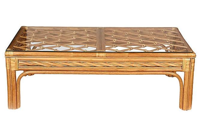 1970s Bamboo & Glass Top Coffee Table by 2bModern