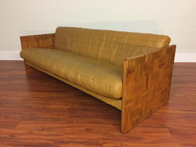 Patchwork Leather and Oak Parquet Vintage Sofa by Vintagefurnitureetc