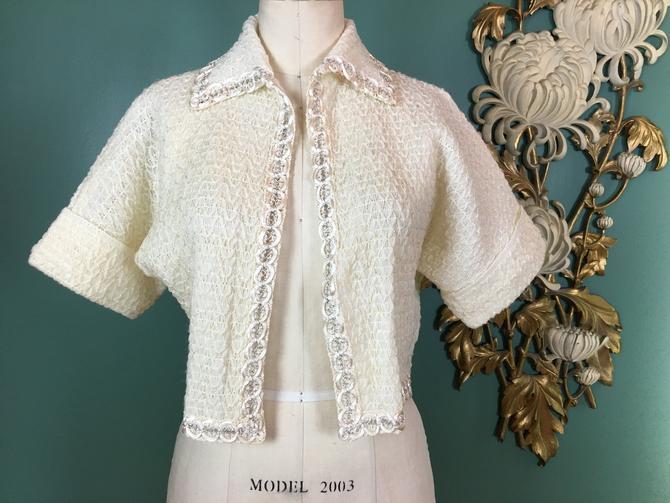 cropped knit jacket, 1950s bolero, cream colored jacket, vintage jacket, mrs maisel style, medium, bed jacket, loungewear, 50s knitwear by BlackLabelVintageWA