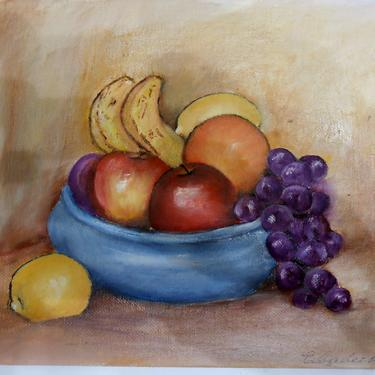 Vintage Signed Original Art Acrylic Oil Painting Still Life with Fruit Vibrant Elizabeth Ray Artist by kissmyattvintage