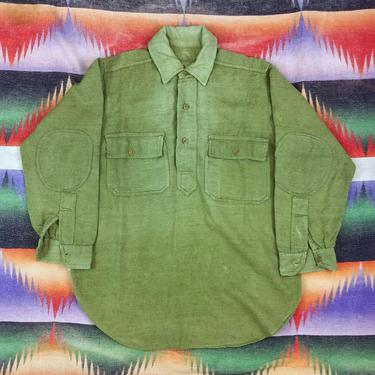 Size M Vintage 1910s WW1 US Army M-17 Pullover Green Wool Flannel Shirt #2 by BriarVintage