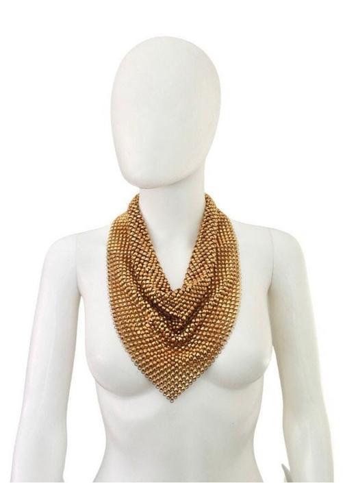 1960s Gold Studded Mesh Bib Necklace - 1960s Gold Bib Necklace - 1960s Gold Mesh Necklace - Vintage Chain Mail Necklace - Studded Necklace by VeraciousVintageCo