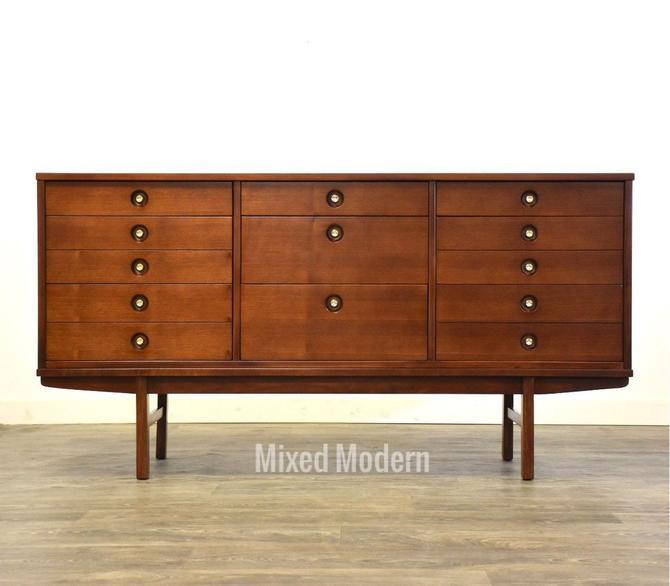 Walnut & Brass Long Dresser by Stanley by mixedmodern1