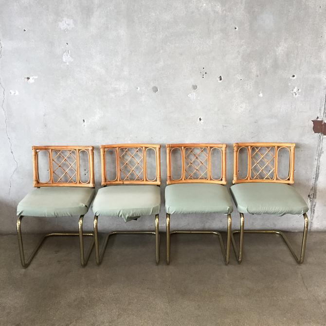 Set of Four Rattan & Brass Cantilever Chairs