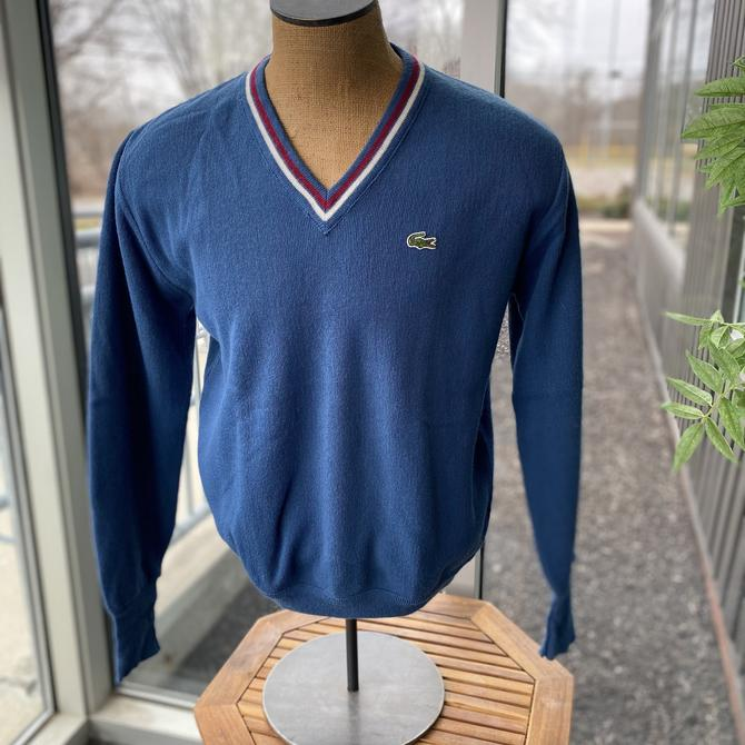 IZOD LACOSTE Vintage 1970s Men's Acrylic V-Neck Pullover Varsity Sweater - Blue - Size Large by AIDSActionCommittee