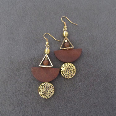 African Afrocentric earrings, animal print earrings, bold statement earrings, ethnic wooden and brass earrings, unique exotic earrings by Afrocasian