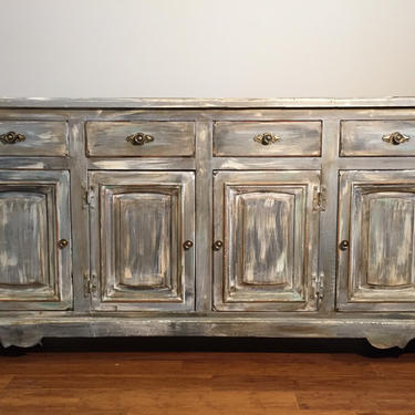 SOLD- Antique Rustic Buffet Server - Bathroom Vanity - Shabby Chic - Gray by FrenchTwistAntiques