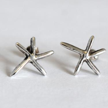 70's sterling abstract starfish beachy boho studs, fun whimsical 925 silver sea star surfer hippie post earrings by BetseysBeauties