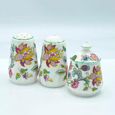 Minton Haddon Hall Floral Pepper Shaker and Mustard Condiment Pot w/ Spoon by JoAnntiques