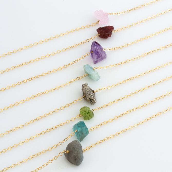 Natural Crystal Necklace/Healing Crystal Necklace/Natural Gemstone/Raw Stone Pendant/Layering Necklace/Christmas Gift/Boho Gift for Her by LEILAjewelryshop