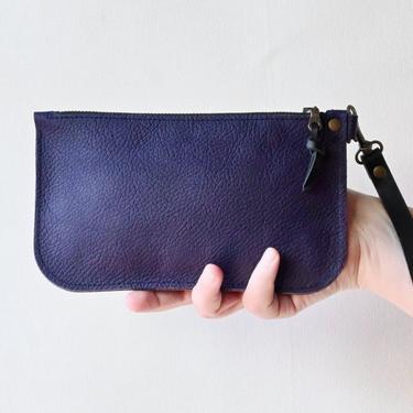 Small Leather Zipper Clutch, Purple