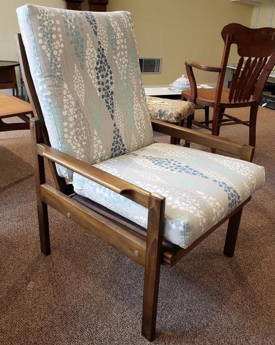 Item #DMC130 Vintage Teak Framed Upholstered Cushion Arm Chair c.1970