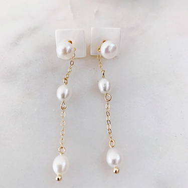 Pearl Drop Earrings // freshwater pearls and 14k gold filled chain by mammothandminnow