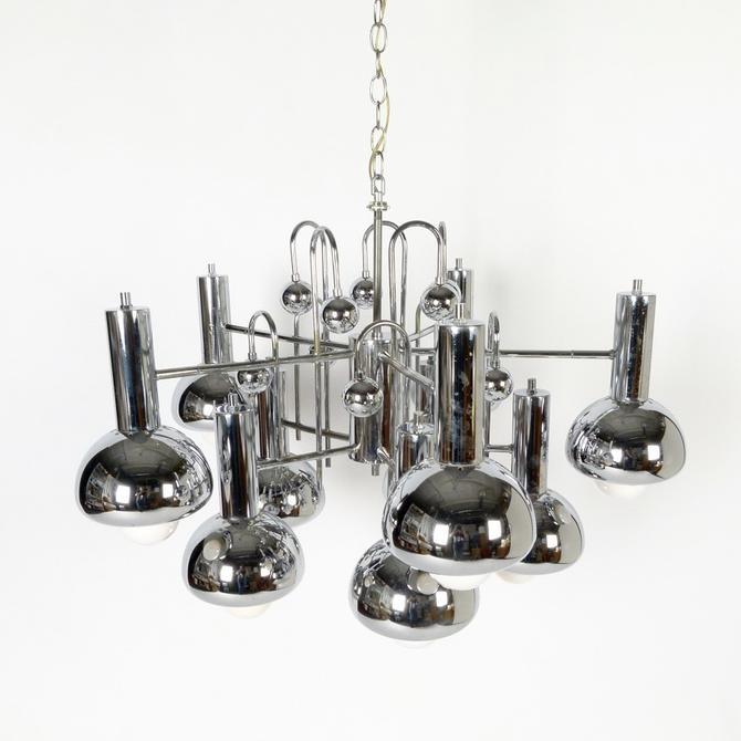 Large Chrome Ten Bulb Chandelier