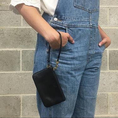 Vintage Coach Wristlet Retro 1990s Preppy + Black Leather + Mini Clutch + 1941 + Small Handbag or Wallet + Womens Accessory by RetrospectVintage215