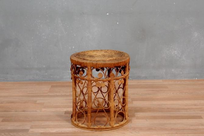 Retro Rattan Side Table