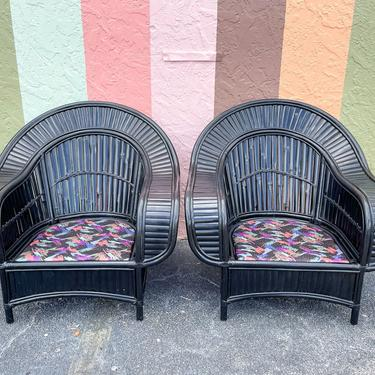 Pair of So Chic Rattan Chairs and Ottoman