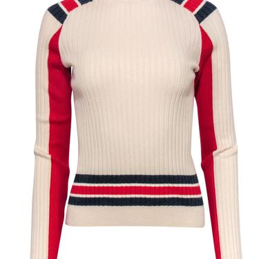 Rag & Bone - Ivory Ribbed Turtleneck Sweater w/ Red & Blue Stripes Sz M