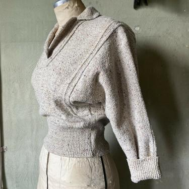Vintage 1940s Speckled Wool Chenille Sweater Blouse Pull Over Lofties Fitted