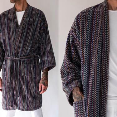 Vintage 80s Missoni Multi Colored Stripe Terry Cloth Bath Robe   Smoking Jacket, Bohemian, Beach Style   1980s Italian Designer Unisex Robe by TheVault1969