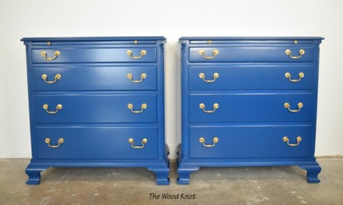 Blue And Gold Large Nightstands. A Pair.