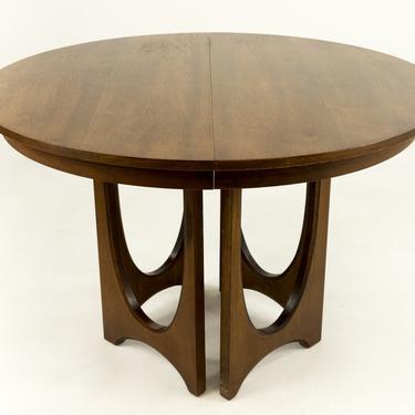 Broyhill Brasilia Mid Century Round Walnut Pedestal Dining Table - mcm by ModernHill