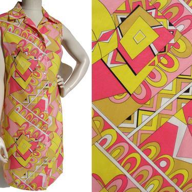 Vintage 60s Mod Dress Pink Psychedelic Pop Art Print M / L by MetroRetroVintage