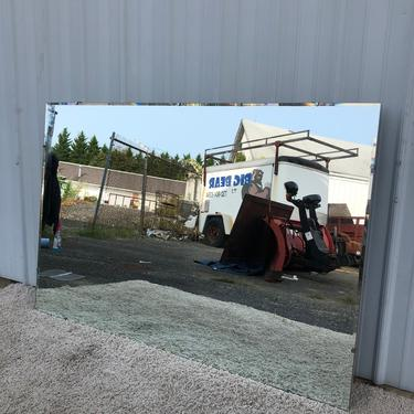 Mid Century Large Wall Mirror with Beveled Edge