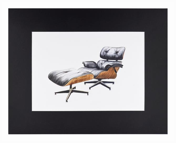 Watercolor Painting Eames Lounge Chair Interior Design Mid Century Modern by VintageInquisitor