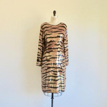 """Vintage 1980's Tiger Print Sequin Evening Dress Orange and Black Long Sleeve Formal Cocktail Party Lilli Rubin 34"""" Waist Size Medium Large by seekcollect"""